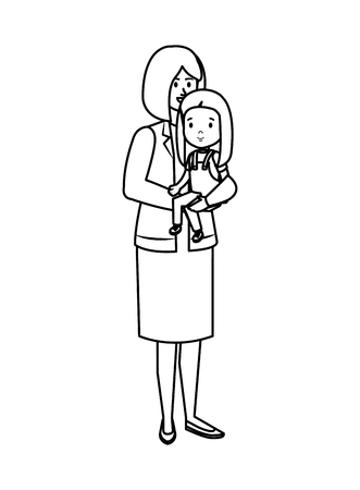 young mother with little daughter vector illustration design Standard-Bild - 123607616