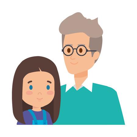cute grandfather with grandaughter vector illustration design