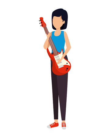 woman playing guitar electric vector illustration design Illustration