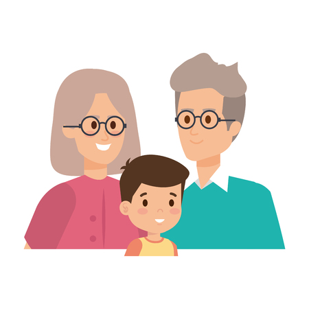 cute grand parents couple with grandson vector illustration design Illustration