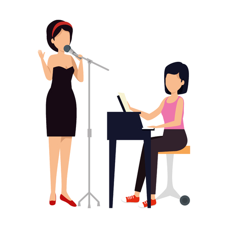 women playing grand piano and sing characters vector illustration design