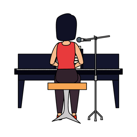 woman playing grand piano character vector illustration design Archivio Fotografico - 123547441