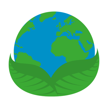 world planet earth with leafs plant vector illustration design Çizim