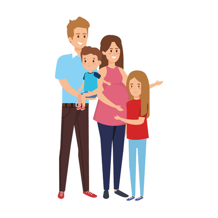 parents couple with son and daughter characters vector illustration design Stock Vector - 120773852