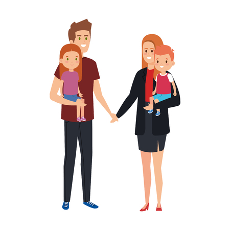 parents couple with son and daughter characters vector illustration design Stock Vector - 120812316
