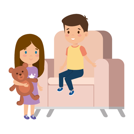 little kids couple sitting in sofa with bear teddy vector illustration design Vectores