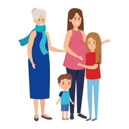 cute grandparents couple with grandson and grandaughter vector illustration Illustration