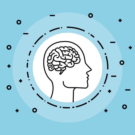 label with brain inside silhouette man head vector illustration