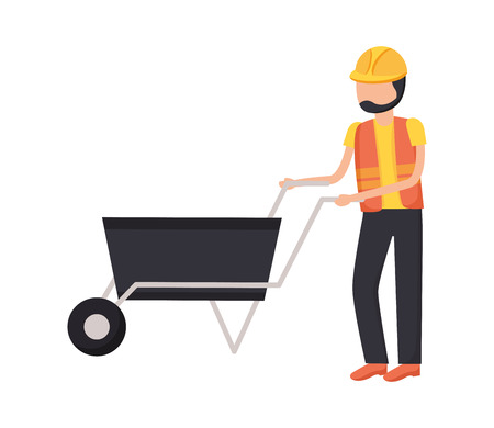 worker with wheelbarrow construction tool vector illustration design Archivio Fotografico - 123547548