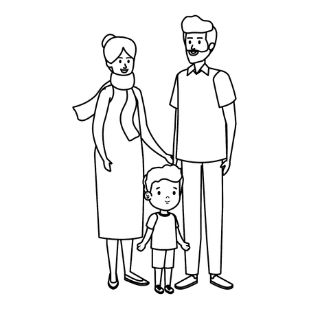cute grand parents couple with grandson vector illustration design 矢量图像