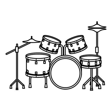 Tambores de batería, diseño de ilustraciones vectoriales de instrumentos musicales