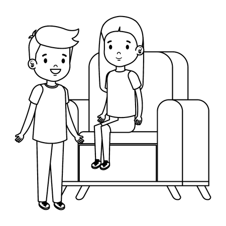 little kids couple sitting in sofa vector illustration design