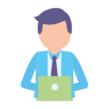 businessman working with laptop computer vector illustration