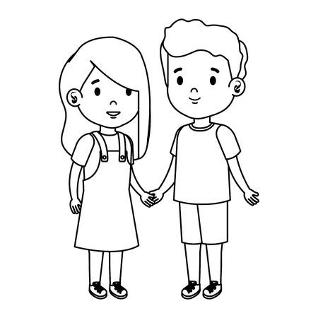 petits enfants couple caractères vector illustration design