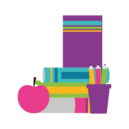 books apple pencils school supplies vector illustration design