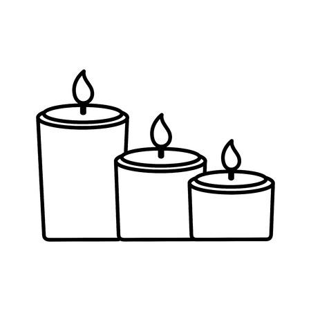 brandende kaarsen decoratie op witte achtergrond vectorillustratie