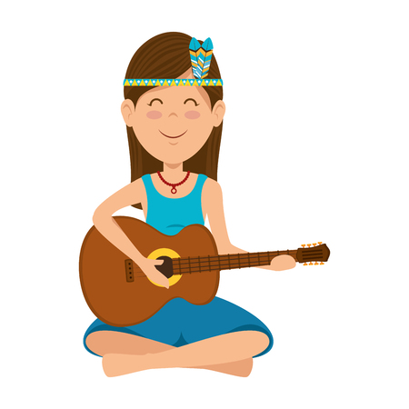 hippy woman playing guitar character vector illustration design