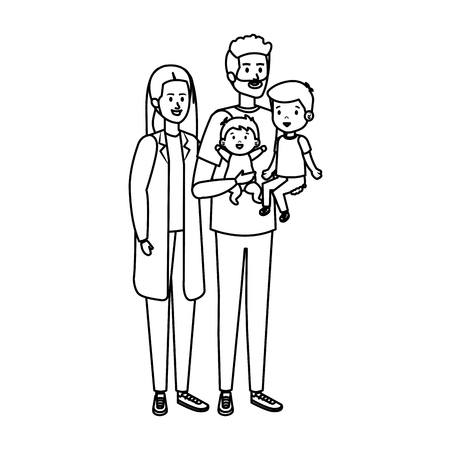 young parents couple with son and baby vector illustration design Illustration