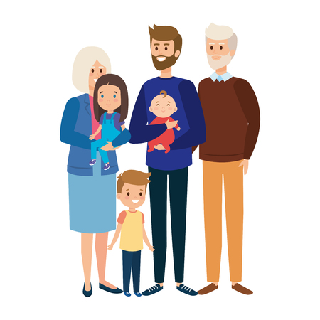 grandparents couple with son and little kids vector illustration design