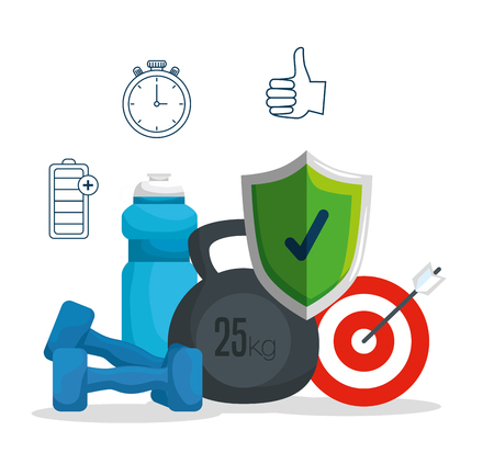 dumbbells with water bottle and shield security with target vector illustration Stock Vector - 123547719