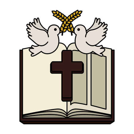 holy bible with wooden cross and doves vector illustration design Foto de archivo - 120812447