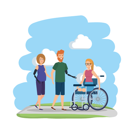 young woman in wheelchair with friends vector illustration design Foto de archivo - 123547767