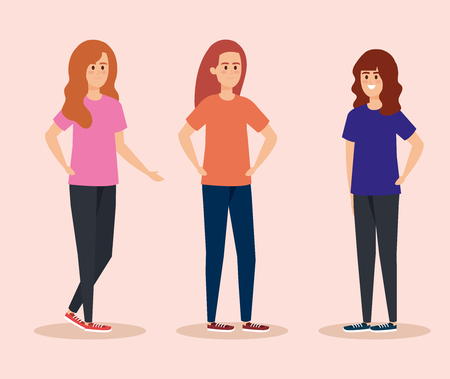set girls with fashion hairstyle and casual clothes vector illustration