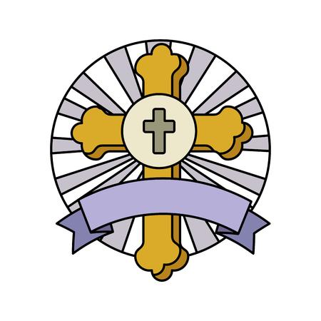 first communion cross with ribbon frame vector illustration design 일러스트