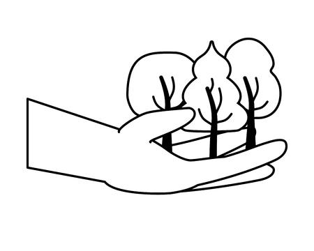 mano con l'illustrazione vettoriale della carta della giornata della terra della natura dell'albero