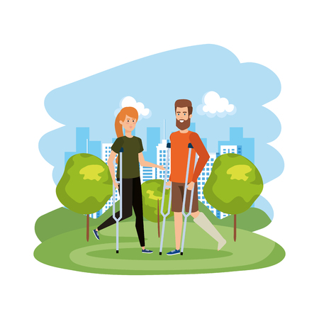 couple in crutches characters vector illustration design Illustration