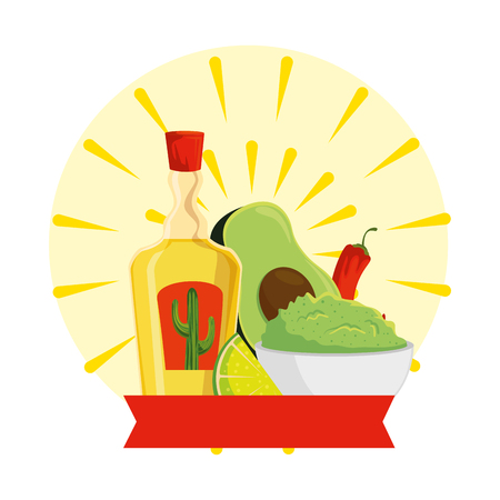 tequila bottle with guacamole and chili pepper vector illustration design Иллюстрация