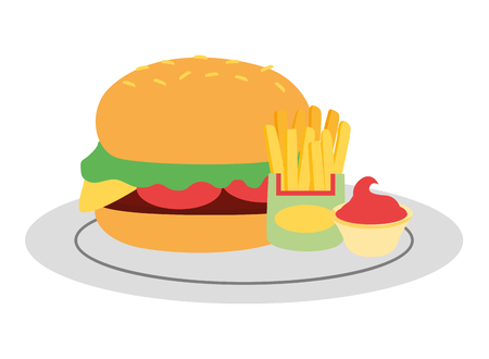 burger french fries and sauce fast food vector illustration