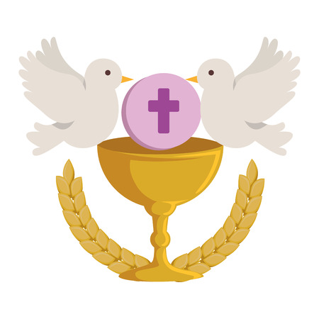 first communion in chalice with doves vector illustration design Çizim