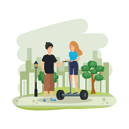 young couple in hoverboard electric on landscape vector illustration design