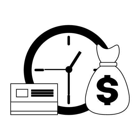 money bag bank card clock time tax payment  vector illustration