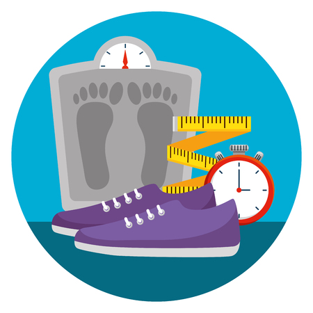 weighing machine with measuring tape and shoes vector illustration Stock Vector - 123547929