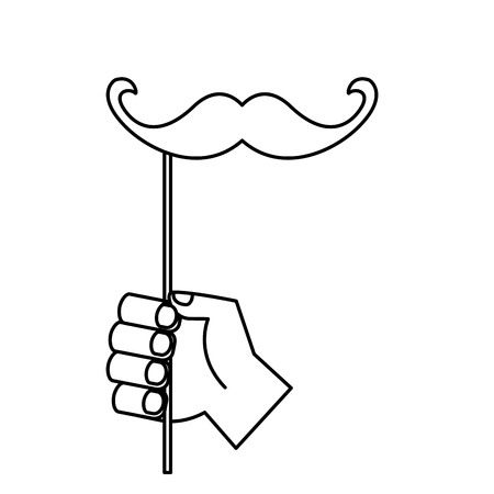 hand with mustache in stick carnival vector illustration design Stock Illustratie