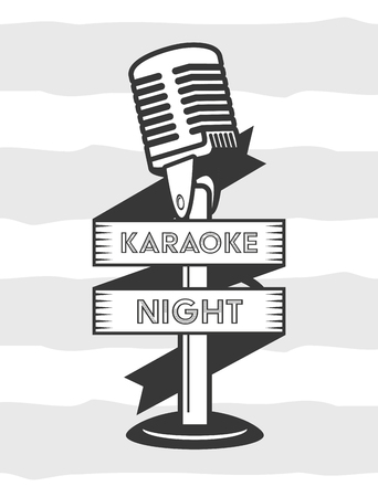 microphone karaoke retro style background vector illustration Иллюстрация