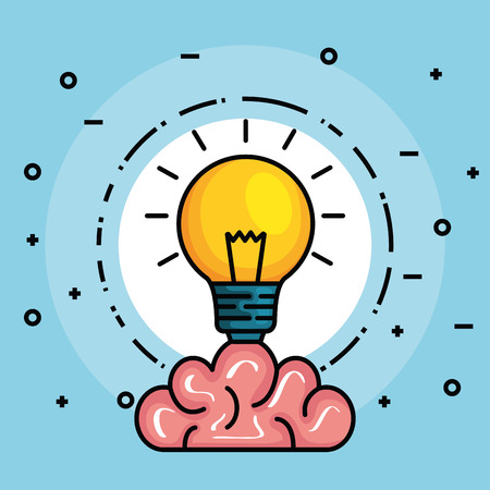 label with brain and creative bulb idea vector illustration