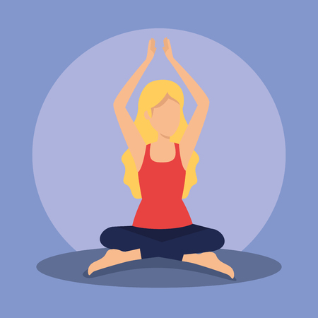 woman sitting doing meditation exercise vector illustration