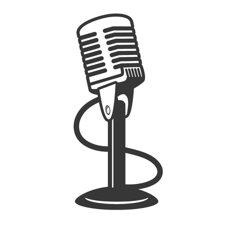 microphone sound retro icon on white background vector illustration Foto de archivo - 120855851