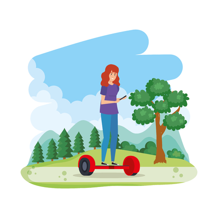 young woman in hoverboard electric in the field vector illustration design