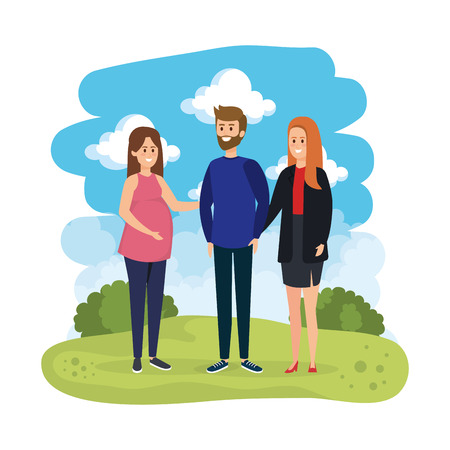 group people with pregnancy woman in the landscape vector illustration design