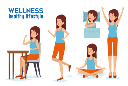 set woman lifestyle balance with sleep, relaxation and eat vector illustration Reklamní fotografie - 120855880