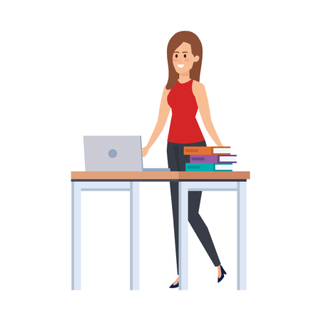 young teacher female in desk with laptop and books vector illustration design  イラスト・ベクター素材