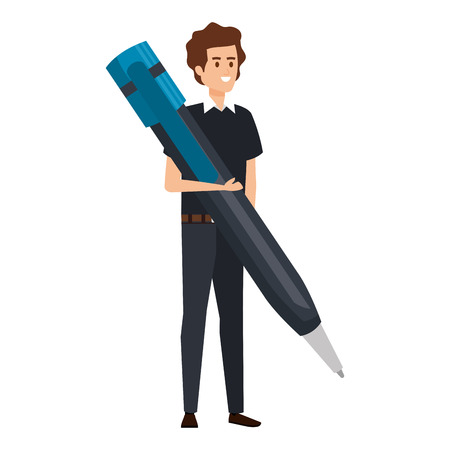 young teacher male with big pen character vector illustration design 写真素材 - 123548149
