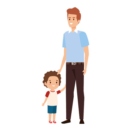 young father with son characters vector illustration design 向量圖像