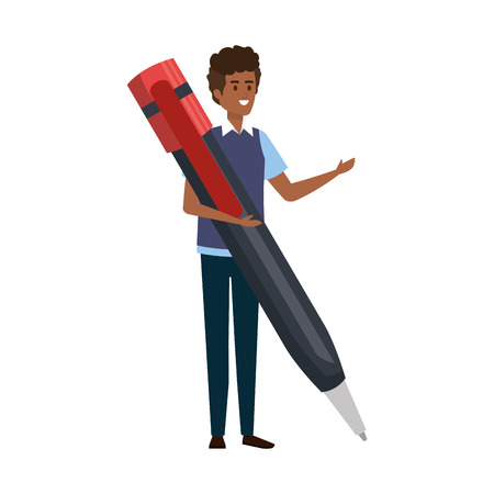 young black teacher male with big pen character vector illustration design