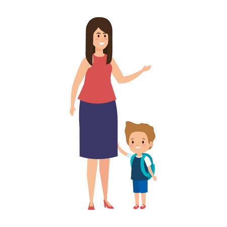 junge Mutter mit kleinem Sohn Zeichen Vector Illustration Design
