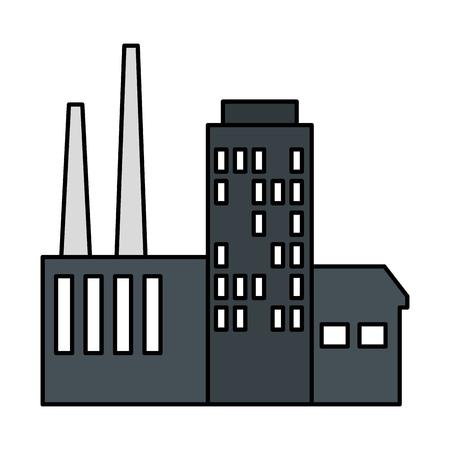 L'icône de la scène de l'usine de construction de conception d'illustration vectorielle